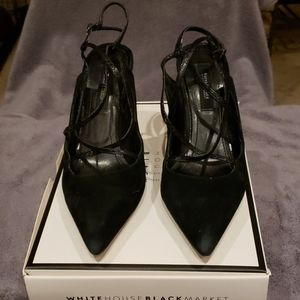 WHBM suede strappy sz 9 heels